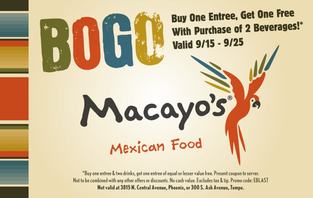photo relating to Avenue Coupon Printable identified as Bargains - Macayos Mexican Places to eat